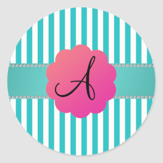 Monogram turquoise stripes sticker