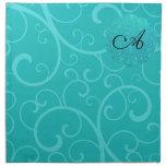 Monogram turquoise swirls cloth napkins