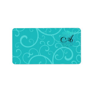 Monogram turquoise swirls custom address label