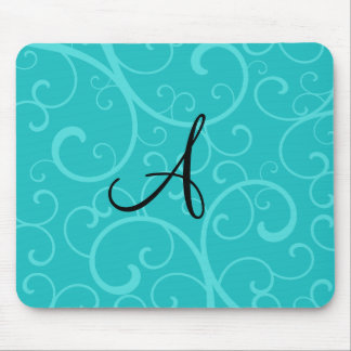 Monogram turquoise swirls mouse pad