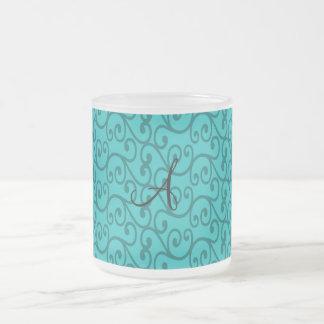 Monogram turquoise swirls mug