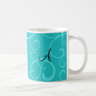 Monogram turquoise swirls mugs