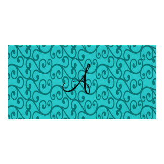 Monogram turquoise swirls photo cards