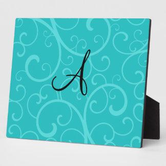 Monogram turquoise swirls plaques