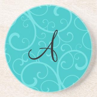 Monogram turquoise swirls sandstone coaster