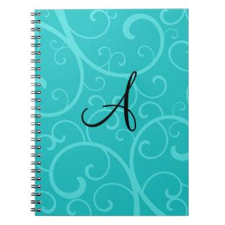 Monogram turquoise swirls spiral note books