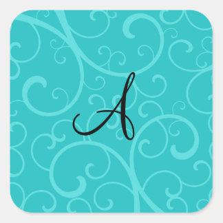 Monogram turquoise swirls sticker