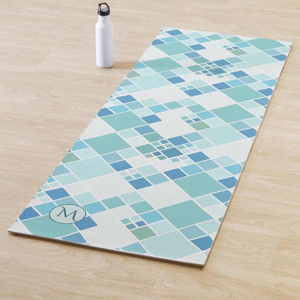 Monogram Turquoise Teal Pattern Yoga Mat