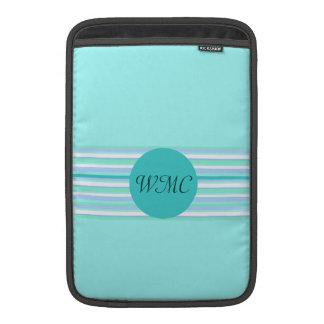 Monogram Turquoise & Turquoise Stripes MacBook Sleeves