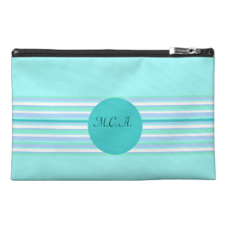 Monogram Turquoise & Turquoise Stripes Travel Accessory Bag