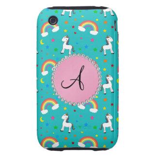 Monogram turquoise unicorn pattern iPhone 3 tough cover