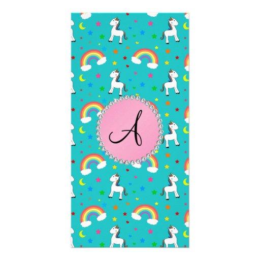 Monogram turquoise unicorn pattern picture card