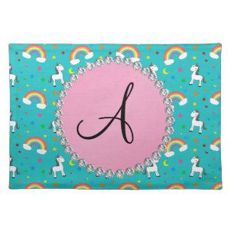 Monogram turquoise unicorn pattern place mats