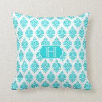 Monogram,Turquoise,White,Damask Pattern Pillow