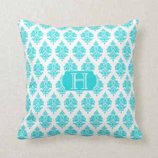 Monogram,Turquoise,White,Damask Pattern Pillow
