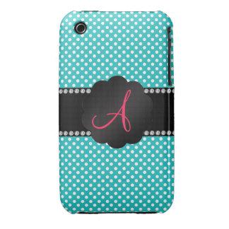 Monogram turquoise white polka dots iPhone 3 case