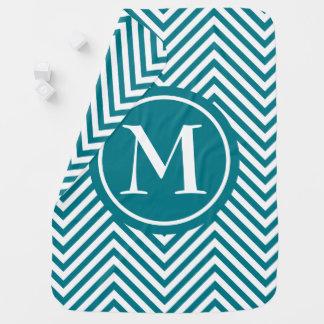 Monogram Turquoise & White Zigzag - Baby Blanket