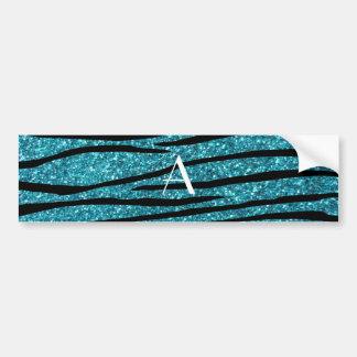Monogram turquoise zebra stripes bumper sticker