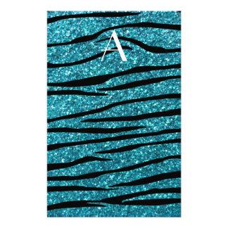 Monogram turquoise zebra stripes stationery