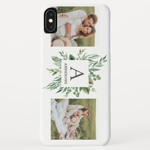 Monogram Two Photos | Personalized Greenery Frame iPhone XS Max Case