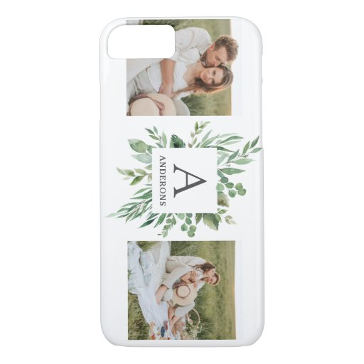 Monogram Two Photos | Personalized Greenery Frame iPhone 8/7 Case