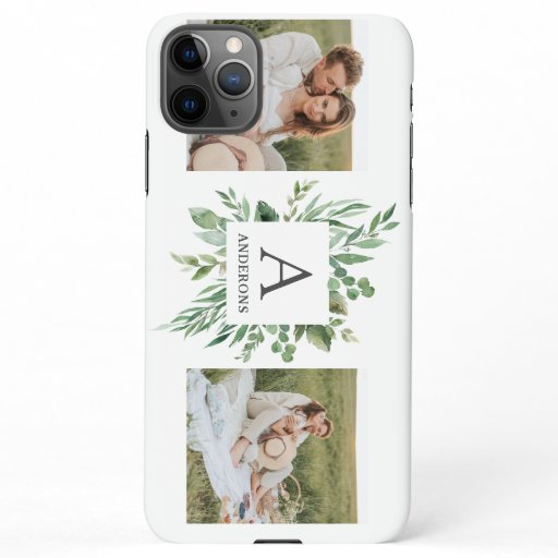 Monogram Two Photos | Personalized Greenery Frame iPhone 11Pro Max Case