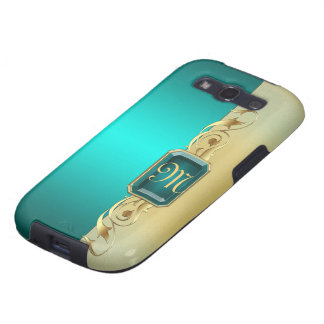 Monogram Two Tone Teal Faux Jeweled Gold Scroll Galaxy SIII Case