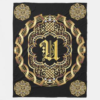 Monogram U CUSTOMIZE To Change Background Color Fleece Blanket