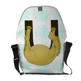 Monogram U Cute Pony Personalized Courier Bag