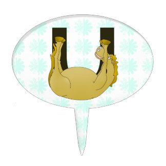Monogram U Funny Pony Customised Cake Topper