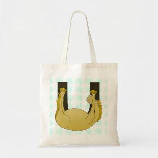 Monogram U Funny Pony Personalized Budget Tote Bag