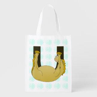 Monogram U Funny Pony Personalized Reusable Grocery Bag