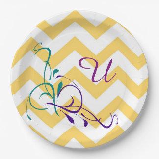 """Monogram """"U"""" Gold & White Chevron paper plates"""