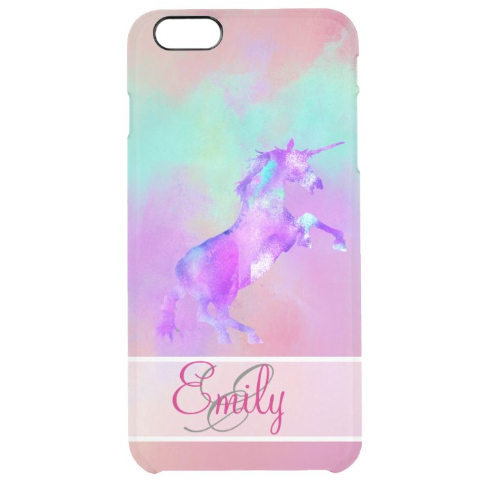 ... Cute Pink Teal Purple Watercolors Clear iPhone 6 Plus Case : Zazzle