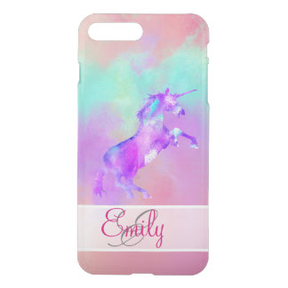 Monogram Unicorn Cute Pink Teal Purple Watercolors iPhone 7 Plus Case