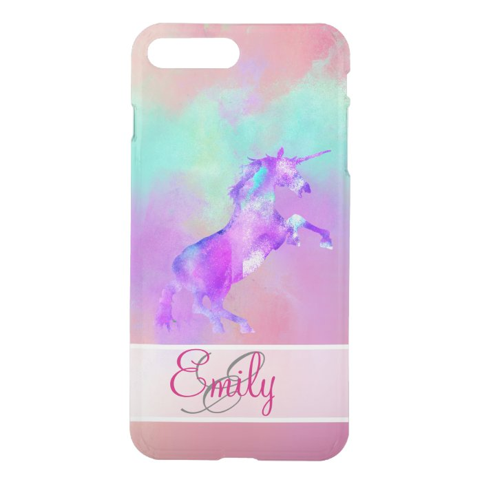 monogram unicorn cute pink teal purple watercolors iphone