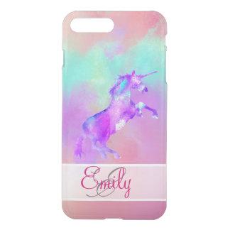 Monogram Unicorn Cute Pink Teal Purple Watercolors iPhone 8 Plus/7 Plus Case