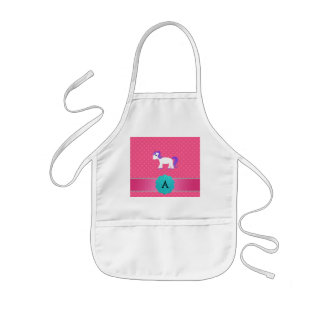 Monogram unicorn pink polka dots apron