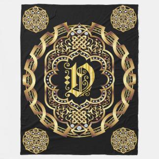 Monogram V CUSTOMIZE To Change Background Color Fleece Blanket