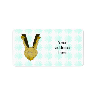 Monogram V Cute Horse Personalised Label