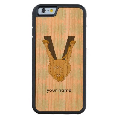 Monogram V Flexible Horse Personalised Carved® Cherry iPhone 6 Bumper