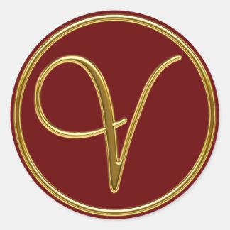 Monogram V in 3D gold Classic Round Sticker