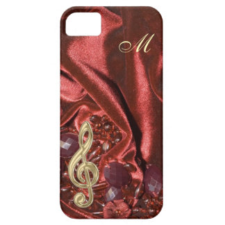 Monogram Velvet with Gold Music Clef iPhone 5 Case