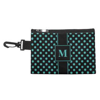 Monogram Verdigris Green Blue on Black Polka Dots Accessory Bags