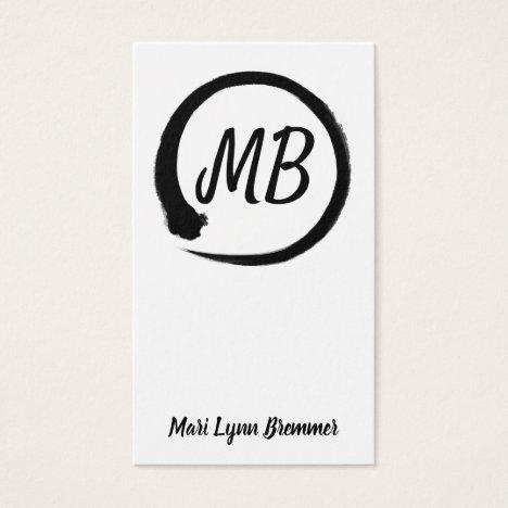 Monogram vertical zen businesscards in black business card
