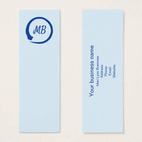 Monogram vertical zen businesscards in blue mini business card