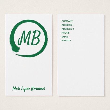 Monogram vertical zen businesscards in green business card