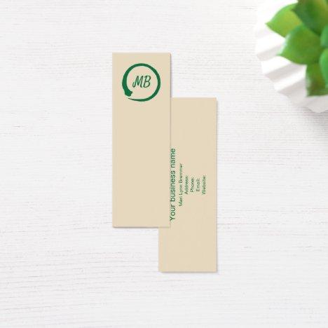 Monogram vertical zen businesscards in green mini business card