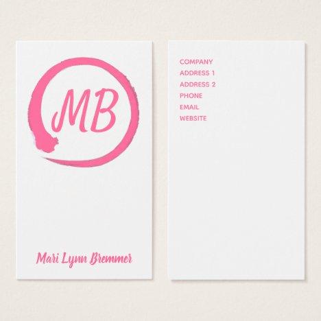 Monogram vertical zen businesscards in pink business card