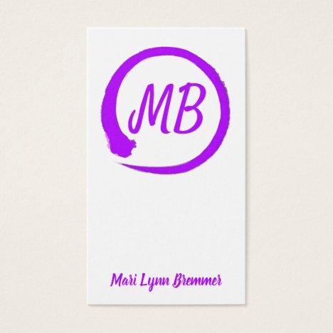 Monogram vertical zen businesscards in purple business card